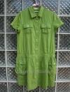 ชุดเดรส ผ้าฝ้าย สีเขียวสดใส ยี่ห้อ Straw-berry ใส่แล้วดูเก๋ไก๋