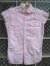 เสื้อสีชมพู Polka dot ลายจุดขาว มีเย็บที่เอว size S ใส่แล้วดูหวานและเก๋ไก๋