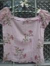 เสื้อแฟชั่นสีม่วงอ่อน ลายดอกไม้ และลายทางยาวสีขาว แขนตุ๊กตา ใส่สวยน่ารัก สม๊อคด้านหลัง