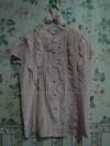 เสื้อสีชมพู ระบายหน้าน่ารัก ผ้ามันลื่น ยี่ห้อ Domo Design Size M