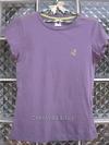 เสื้อยืดสีม่วง เดินเส้นที่บ่า ปักรูปสมอที่หน้าอกซ้าย Size M เนื้อผ้านิ่มใส่สบาย