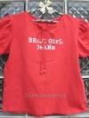 """เสื้อยืด สแปนเดก สีแดง แขนตุ๊กตาน่ารัก สกรีน """"Benji Girl Jeans"""" ยี่ห้อ Benji-Jeans"""