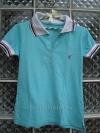 เสื้อยืดแฟชั่น สีฟ้าอมเขียว ปกขาว เล่นลวดลายน้ำเงิน-แดงที่ปก มีกระดุมหน้า สวยใส่สบาย
