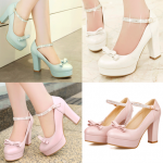 รองเท้าส้นสูง ไซต์ 34-39 สีขาว สีฟ้า สีชมพู