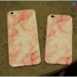 iPhone 6 Plus, 6s Plus - เคสแข็งปิดขอบ ลายหินอ่อน (สีชมพู)