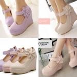 รองเท้าส้นเตารีดสวยหวานสีชมพู/ครีม/ม่วง ไซต์ 34-39