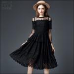 59020119 / S M L XL / 2016 Lace dress พรีออเดอร์ งานคัตติ้งยุโรป คุณภาพดีสมราคา สวยคอนเฟริ์ม