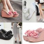 รองเท้าส้นเตารีดส้นเกร็ดเพชรสีชมพู/ดำ/ขาว ไซต์ 34-39