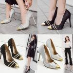 รองเท้าส้นสูงปลายแหลมสีเงิน/ดำ ไซต์ 35-40