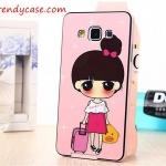 Samsung Galaxy A5 - เคส Face Idea ลายหญิงลากกระเป๋า LOVE TRAVEL
