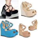 รองเท้าส้นเตารีด ไซต์ 34-39 สีดำ/ฟ้า/น้ำตาล/ครีม