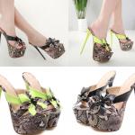 รองเท้าส้นสูงแบบสวมลายงูสีดำ/เขียว ไซต์ 34-40