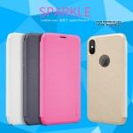 iPhone X - เคสฝาพับ (โชว์โลโก้) Nillkin Sparkle leather case แท้