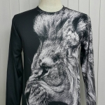 เสื้อ Apizode : เสื้อยืดพิมพ์ลาย คอกลมแขนยาว ลายใบหน้าเสือ (พื้นสีดำ)
