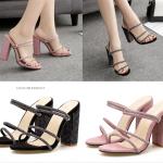 รองเท้าส้นสูงแบบสายใส่ได้ 2 แบบ สีดำ/ชมพู ไซต์ 35-40