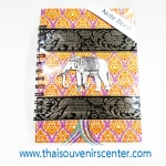สมุดโน้ตปกผ้าลายไทย แบบ 8 สีม่วง