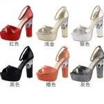 รองเท้าส้นสูง ไซต์ 34-39 สีดำ สีแดง สีเงิน สีทอง สีส้ม สีเทา