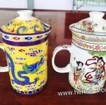 ถ้วยแก้วเซรามิค กรองชา+ชงชา แบบคลาสสิค พร้อมที่กรองชา