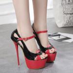 รองเท้าส้นสูงส้นเข็มสีดำขแดง ไซต์ 34-40