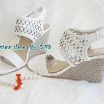 พร้อมส่งรองเท้าส้นเตารีดสีขาว ไซต์ 35