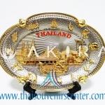 ของพรีเมี่ยม ของที่ระลึกไทย จานโชว์ แบบที่ 6 Size M สีเงินลายทอง