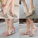รองเท้าส้นสูง ไซต์ 35-39 สีเทา สีครีม สีชมพู