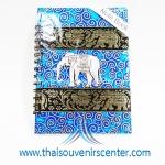 สมุดโน้ตปกผ้าลายไทย แบบ 7 สีฟ้า