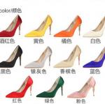 รองเท้าส้นสูงคัดชูปลายแหลมงานผ้าซาตินสีดำ/แดง/แดงเข้ม/ขาว/ครีม/ชมพู/เหลือง/น้ำเงิน/เขียว/เทา/ส้ม ไซต์ 34-39