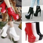 รองเท้าบูทส้นสูงหุ้มข้อหนังแก้ววาวสีแดง/ดำ/ขาว ไซต์ 34-43