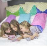 ผ้าห่มหางนางเงือก (ถุงนอน) ราคาส่ง คละสี สีโรส-ฟ้า-ม่วง แพ็ค 3ชุด ยาว 142 cm.