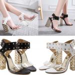 รองเท้าส้นสูงส้นหนาสีดำ/ขาว ไซต์ 34-40
