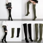 รองเท้าบูมยาวหุ้มหัวเข่าสีดำ/เขียว ไซต์ 35-40