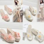 รองเท้าส้นเตารีด ไซต์ 35-39 สีชมพู/เหลือง