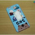 iPhone 6, 6s - เคส TPU หลังนุ่มนิ่ม 3D ลายแมวขาว พื้นหลังสีฟ้า