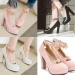 รองเท้าส้นสูงคัดชูแต่งสายรัดข้อใบไม้ฟรุ้งฟริ้งสีชมพู/ขาว/ดำ ไซต์ 34-43