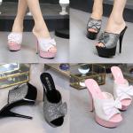 รองเท้าส้นสูงแบบสวมติดโบว์น่ารักๆ สีชมพู/ดำ ไซต์ 35-39