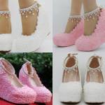 รองเท้าเจ้าสาวส้นเตารีดสีขาวมุข/ชมพู ไซต์ 34-42