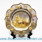 ของพรีเมี่ยม ของที่ระลึกไทย จานโชว์ แบบที่ 9 Size M สีเงินลายทอง