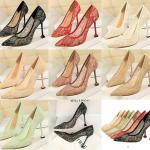 รองเท้าส้นสูงปลายแหลมผ้าลุกไม้เก็บทรงสวยเป๊ะสีดำ/ขาว/ครีม/ชมพู/ม่วง/แดง ไซต์ 34-40