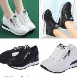 รองเท้าผ้าใบเสริมส้นสีขาว/ดำ ไซต์ 35-40