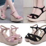 รองเท้าส้นเตารีดสีชมพู/ดำ ไซต์ 34-39
