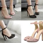 รองเท้าส้นสูงติดหมุดสีชมพู/ดำ ไซต์ 35-40