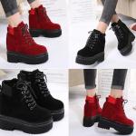 รองเท้าหนังเสริมส้นสีแดง/ดำ ไซต์ 35-39