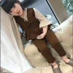เสื้อตัวนอก+กางเกง สีน้ำตาล E1195 แพ็ค 5ชุด ไซส์ 7-9-11-13-15