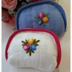 กระเป๋าผ้าฝ้ายปักดอกไม้