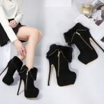 รองเท้าบูทส้นสูงสีดำ ไซต์ 34-40