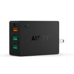 Aukey 42W 3-Ports Wall Charger with AIPower and Quick Charge 2.0(Free USB Cable)