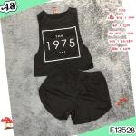 F13528 เซ็ต 2 ชิ้น เสื้อ+กางเกงขาสั้น แขนกุด สกรีน 1975 ที่หน้าอก กางเกงใส่ยางยืดรอบเอว สีดำ