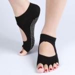 ถุงเท้าโยคะกันลื่น Socks Yoga รุ่นเปิดนิ้วสีดำ