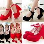 รองเท้าส้นสูงส้นหนาแบบน่ารักสีแดง/ดำ ไซต์ 34-39
